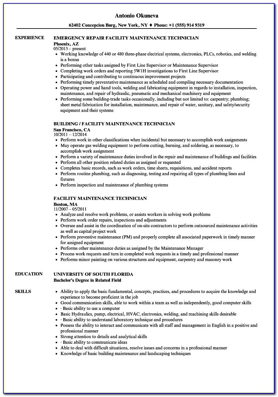 Machine Maintenance Technician Resume Template