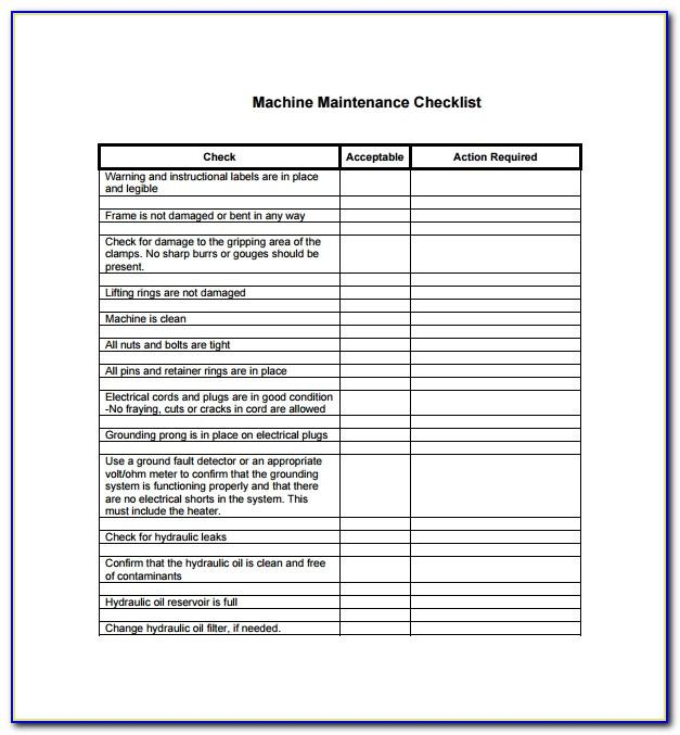 Machine Preventative Maintenance Checklist Template