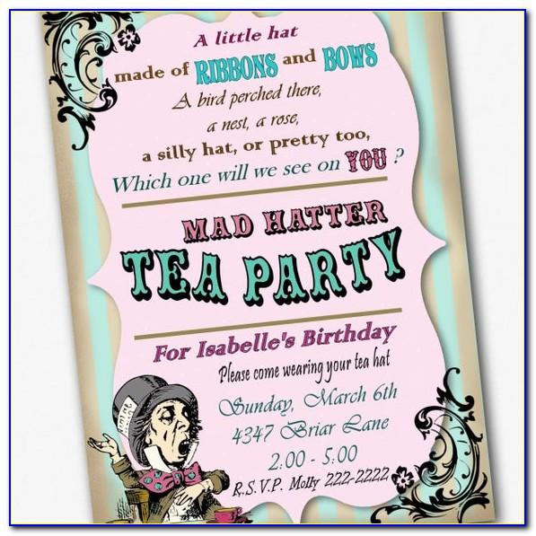 Mad Hatter Tea Party Birthday Invitation Wording