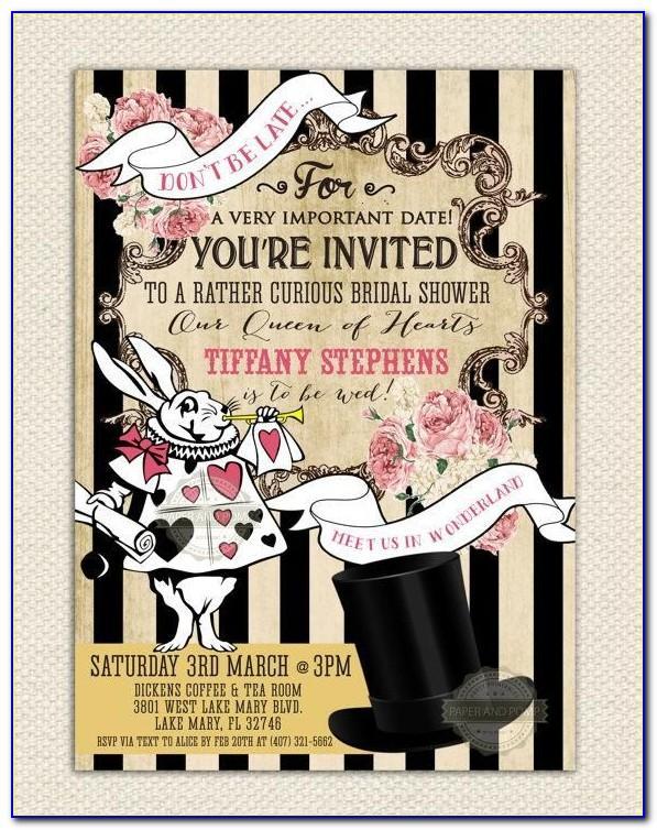 Mad Hatter Tea Party Bridal Shower Invitation Wording