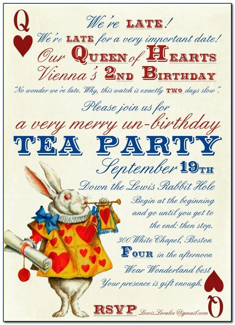 Mad Hatter Tea Party Invitation Wording Ideas