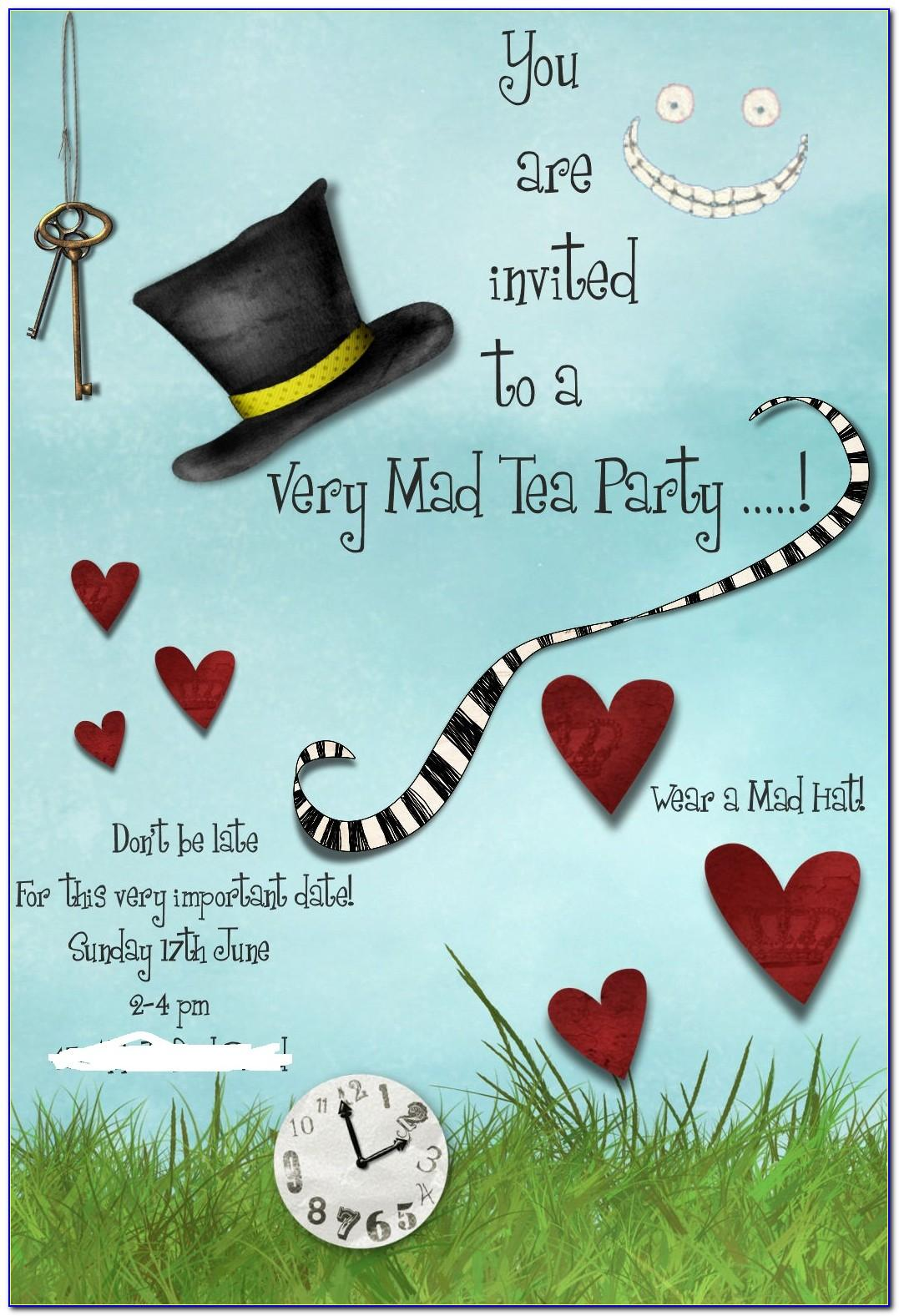 Mad Hatter Tea Party Invite Template Free