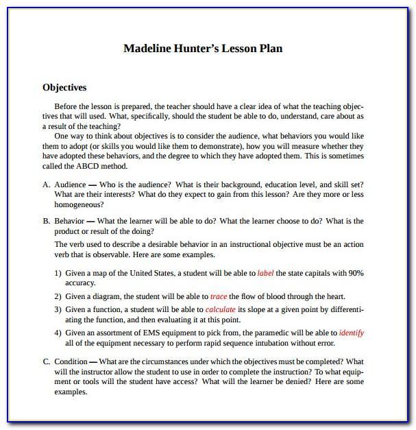 Madeline Hunter Lesson Plan Blank Template