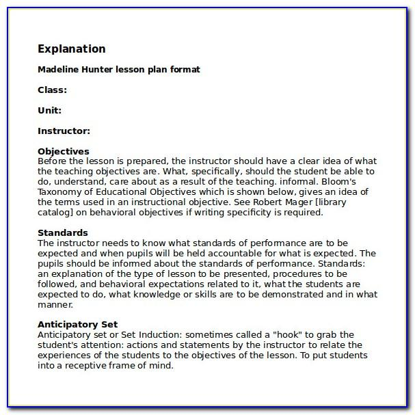Madeline Hunter Lesson Plan Template For Math