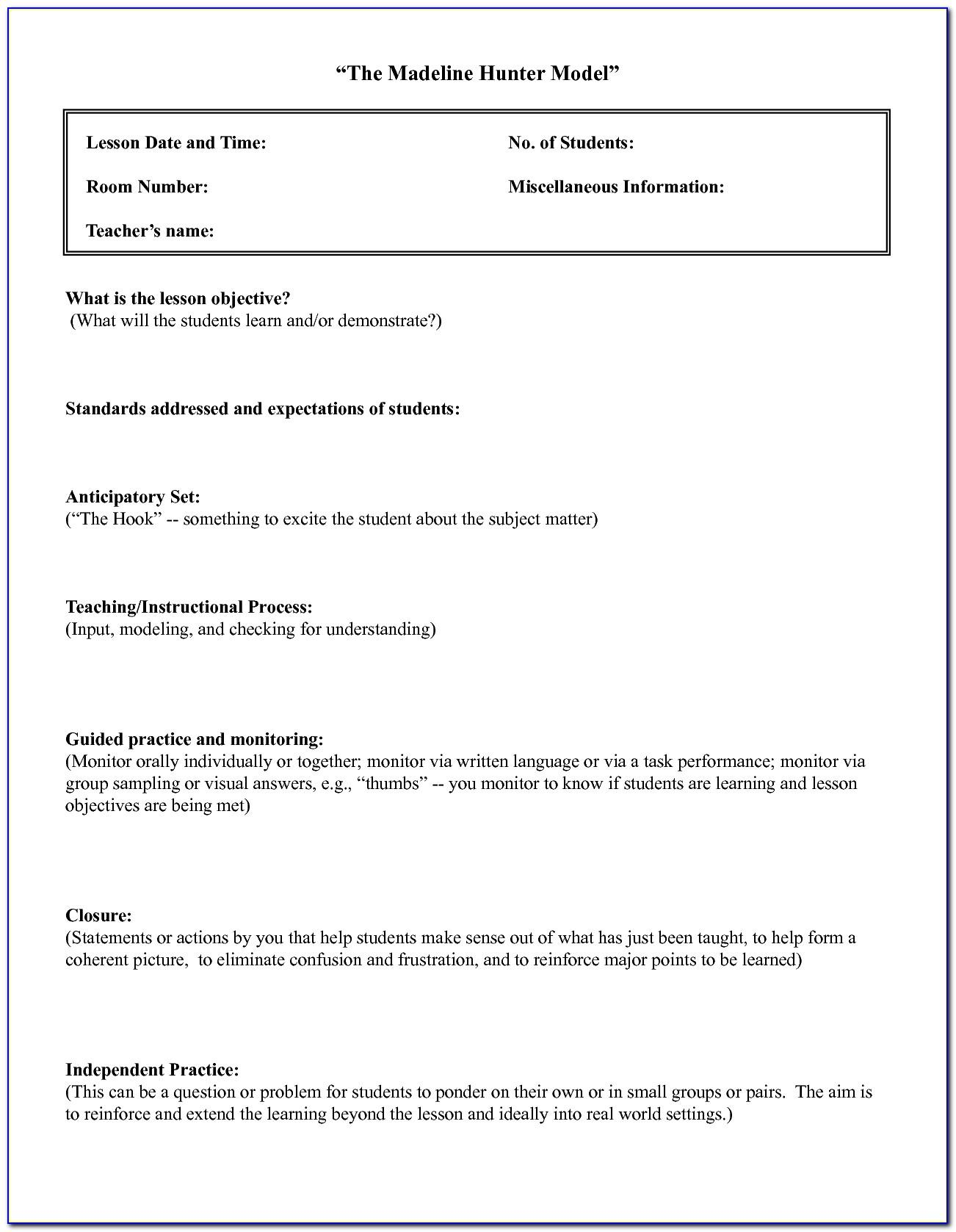 Madeline Hunter Lesson Plan Template Microsoft Word