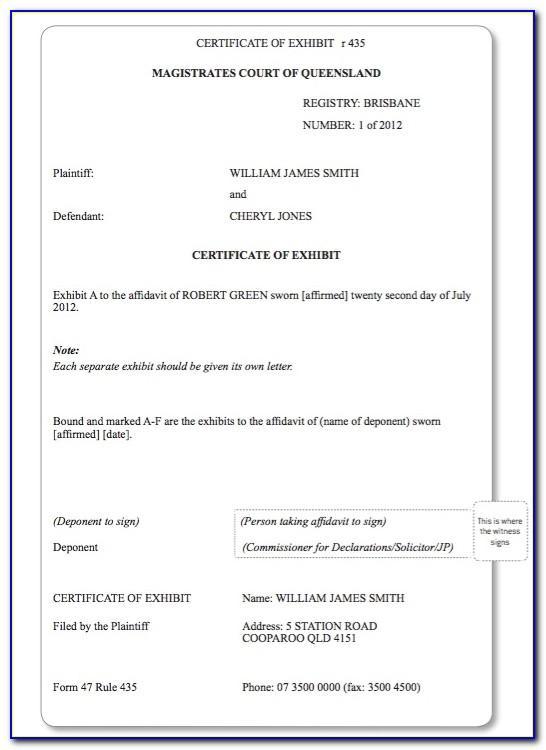 Magistrates Court Wa Affidavit Form 2