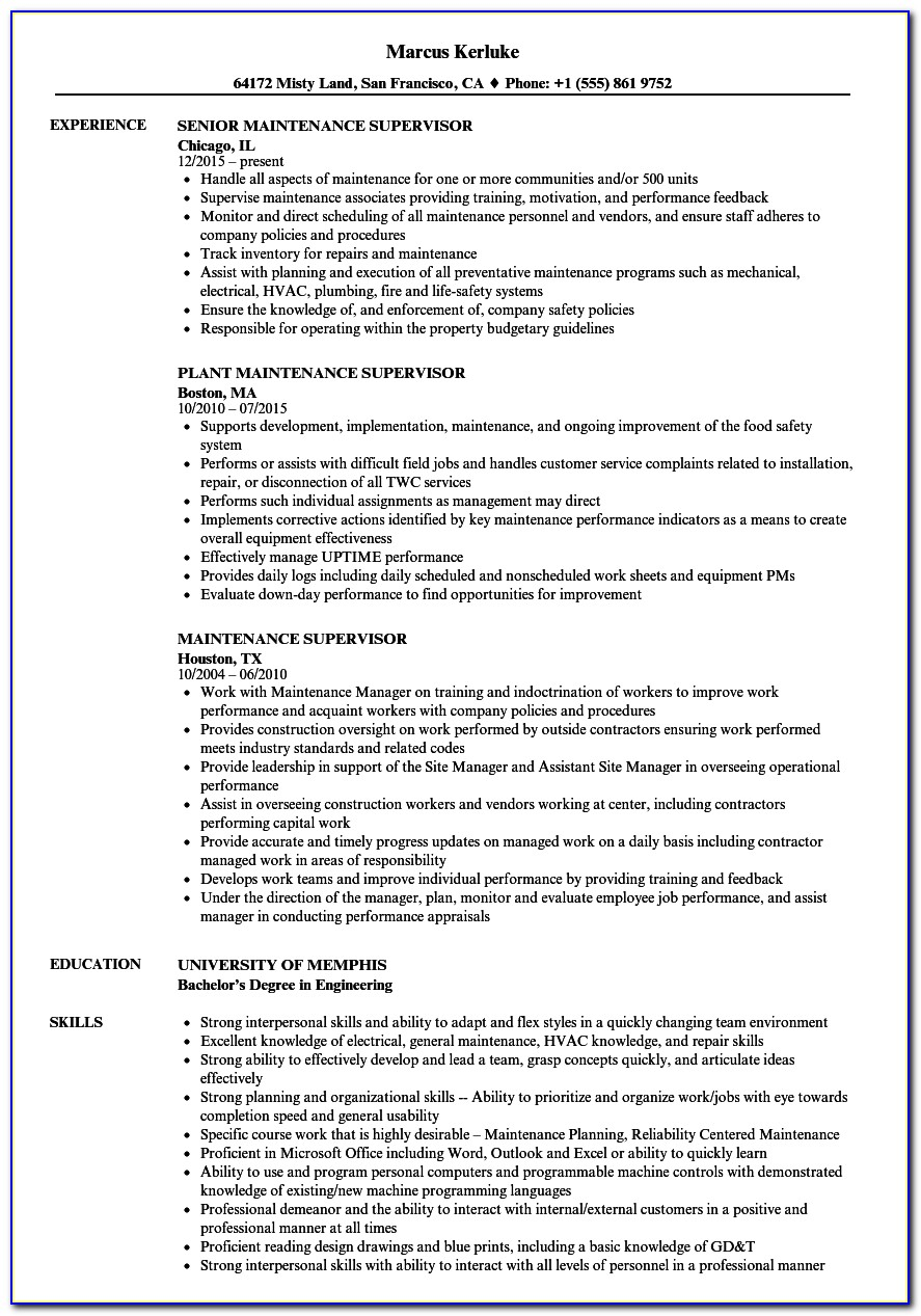 Maintenance Manager Resume Template