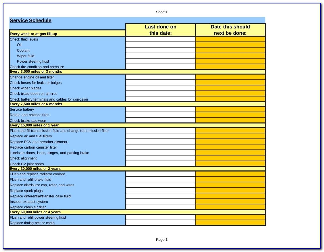 Maintenance Plan Template Xls