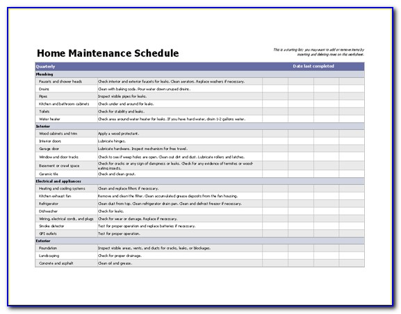 Maintenance Schedule Spreadsheet Template