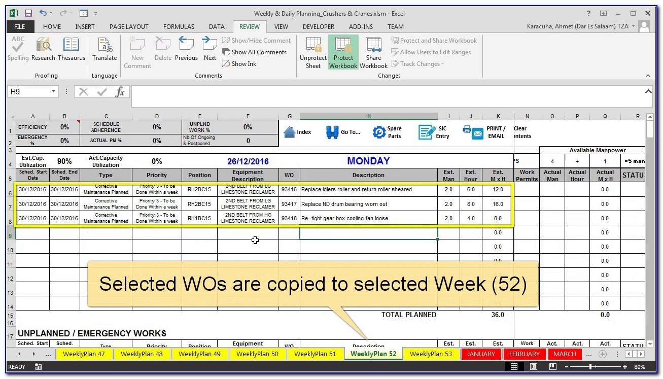 Maintenance Schedule Template Xls