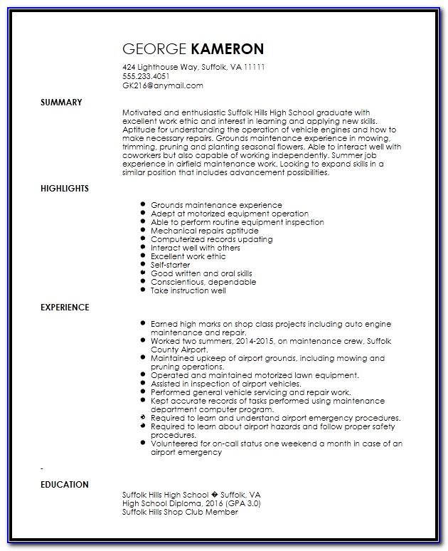 Maintenance Technician Resume Template