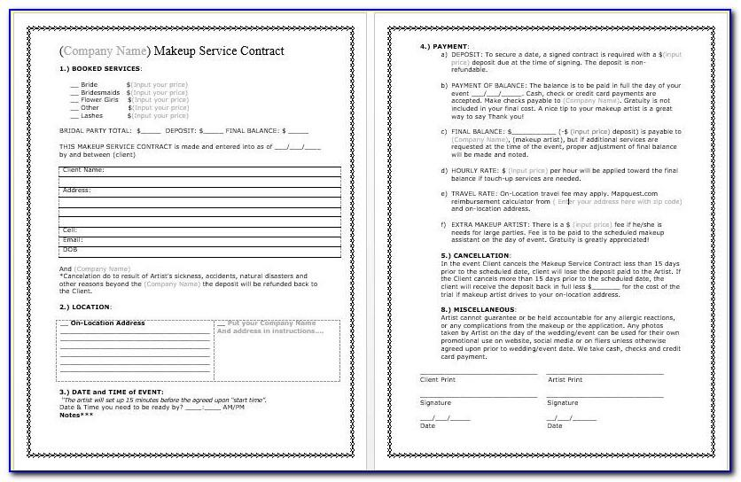 Makeup Artist Contract Template Word