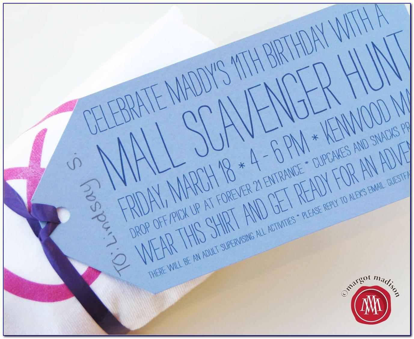 Mall Scavenger Hunt Invitation Wording