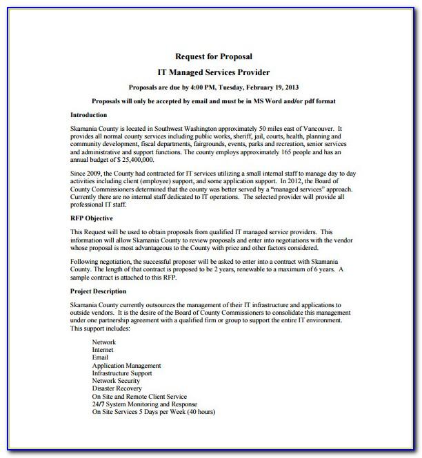 Managed Services Proposal Template Pdf