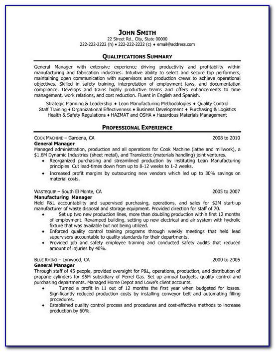 Management Resume Templates Word