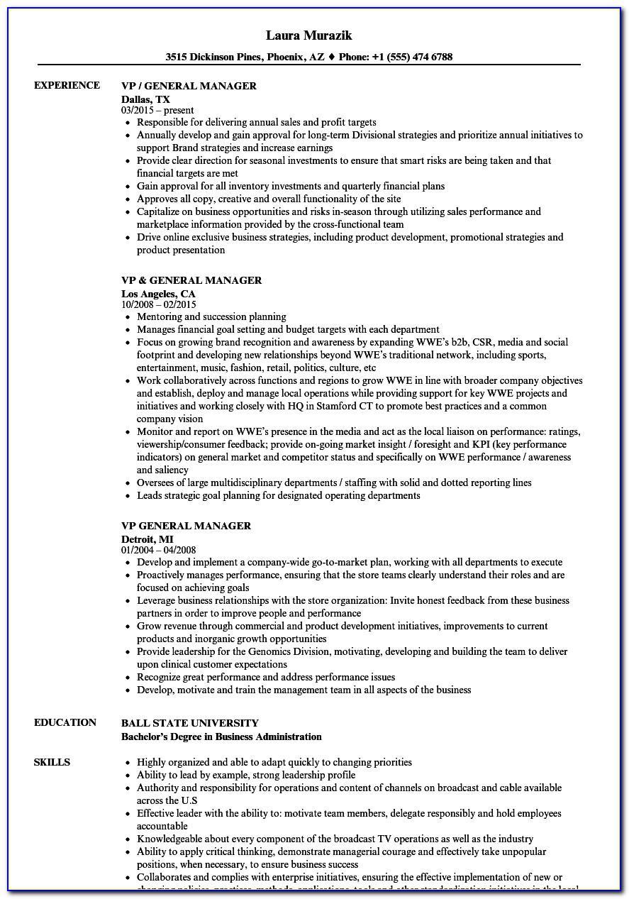 Manager Resume Template Australia