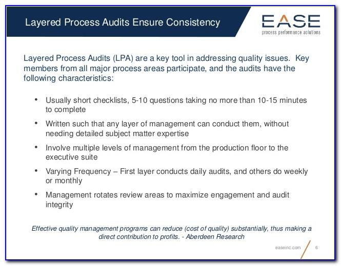 Manufacturing Layered Process Audit Questions