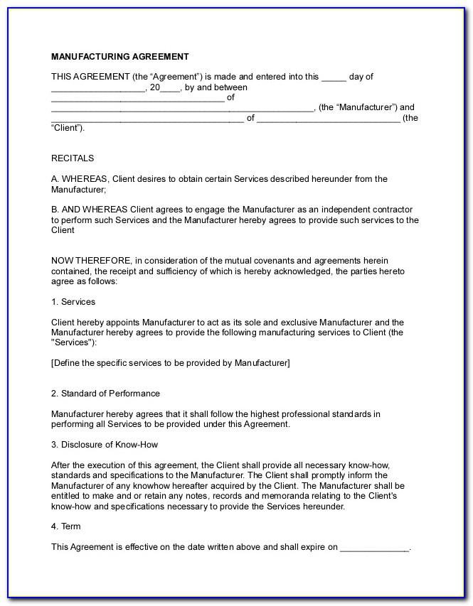Manufacturing Licence Agreement Template