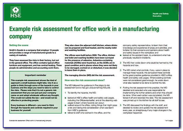 Manufacturing Risk Assessment Form