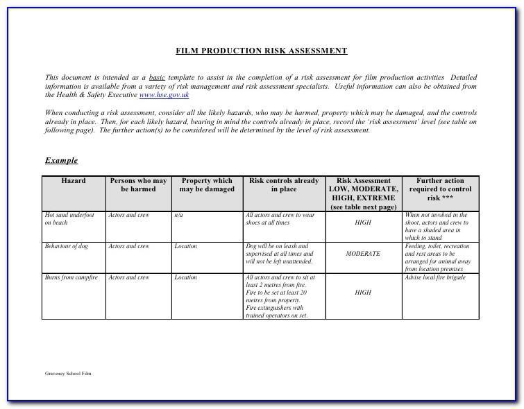 Manufacturing Risk Assessment Sample