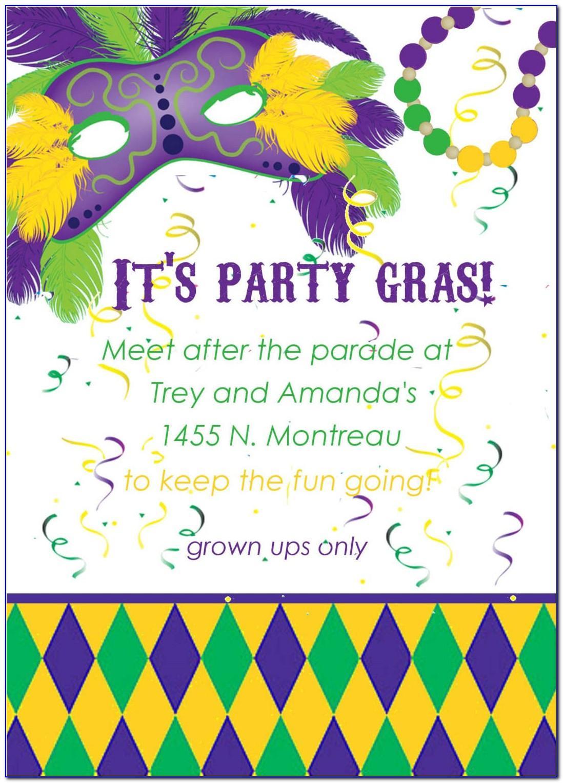 Mardi Gras Themed Invitation Template
