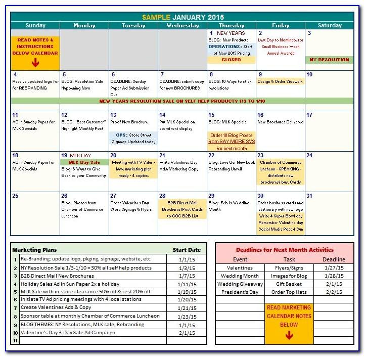 Marketing Calendar Template Excel 2014