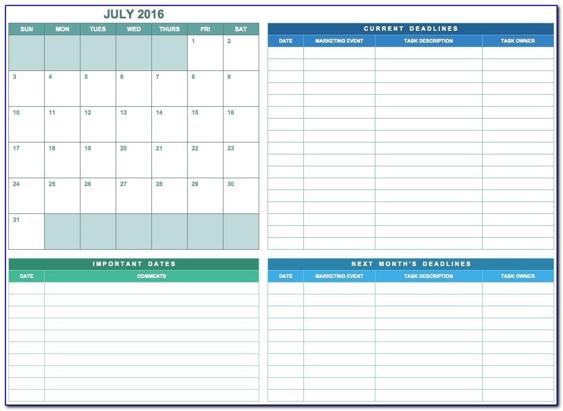Marketing Calendar Template Excel 2018