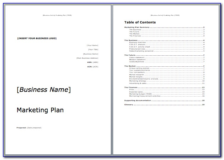 Marketing Plan Template Doc