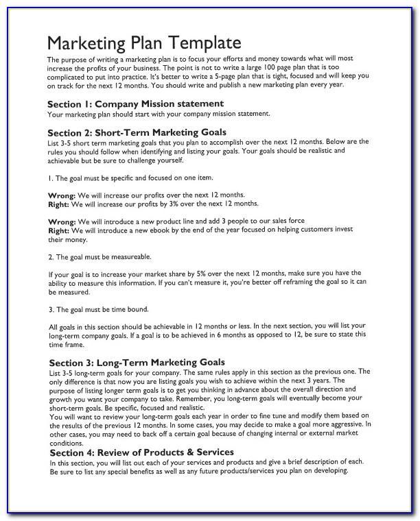 Marketing Plan Template Free Pdf