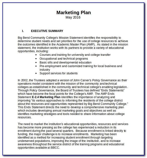 Marketing Plan Template Free Powerpoint