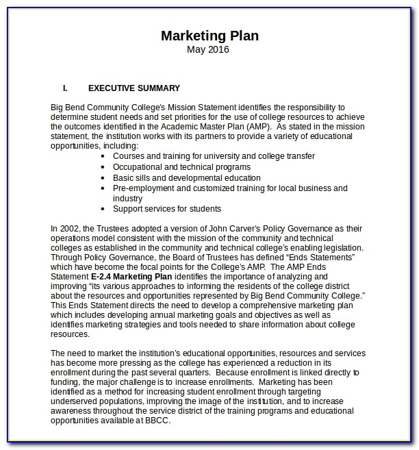 Marketing Plan Templates Ppt