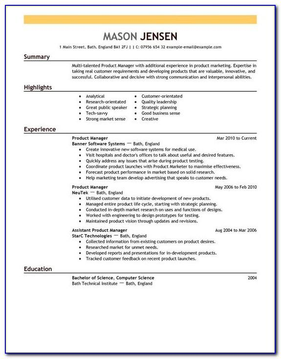 Marketing Position Resume Template