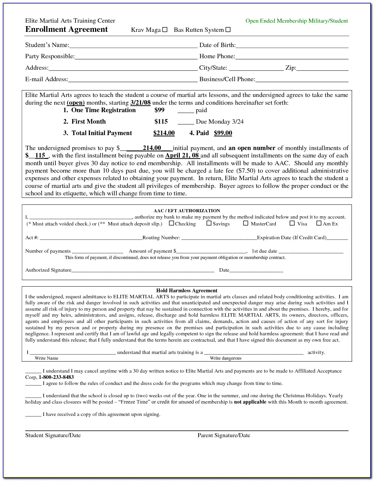 Martial Arts Membership Agreement Template
