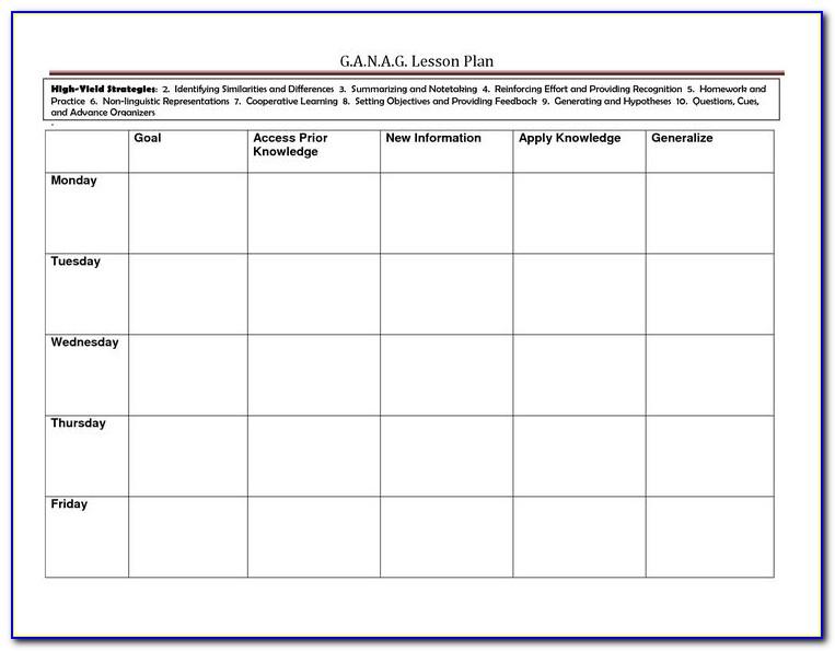 Marzano Lesson Plan Sample