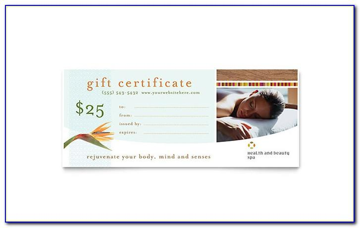 Massage Gift Certificates Templates Free