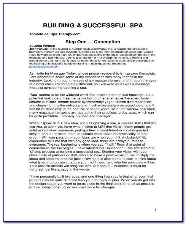 Massage Therapy Business Plan Examples