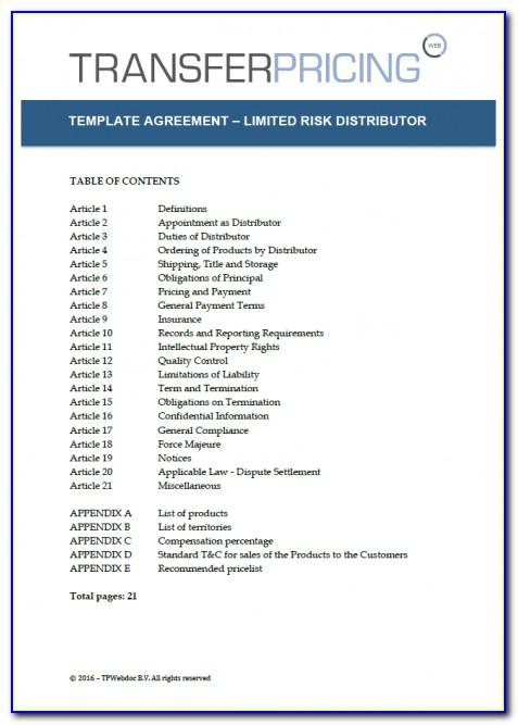 Master Distributor Agreement Forms
