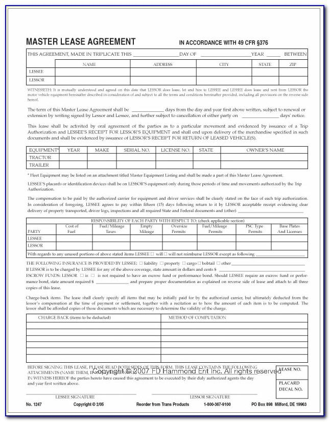 Master Lease Option Agreement Forms