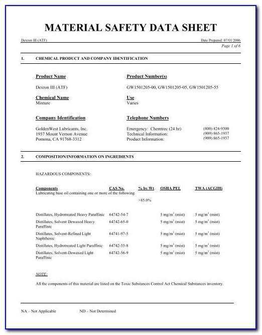 Material Safety Data Sheet Examples