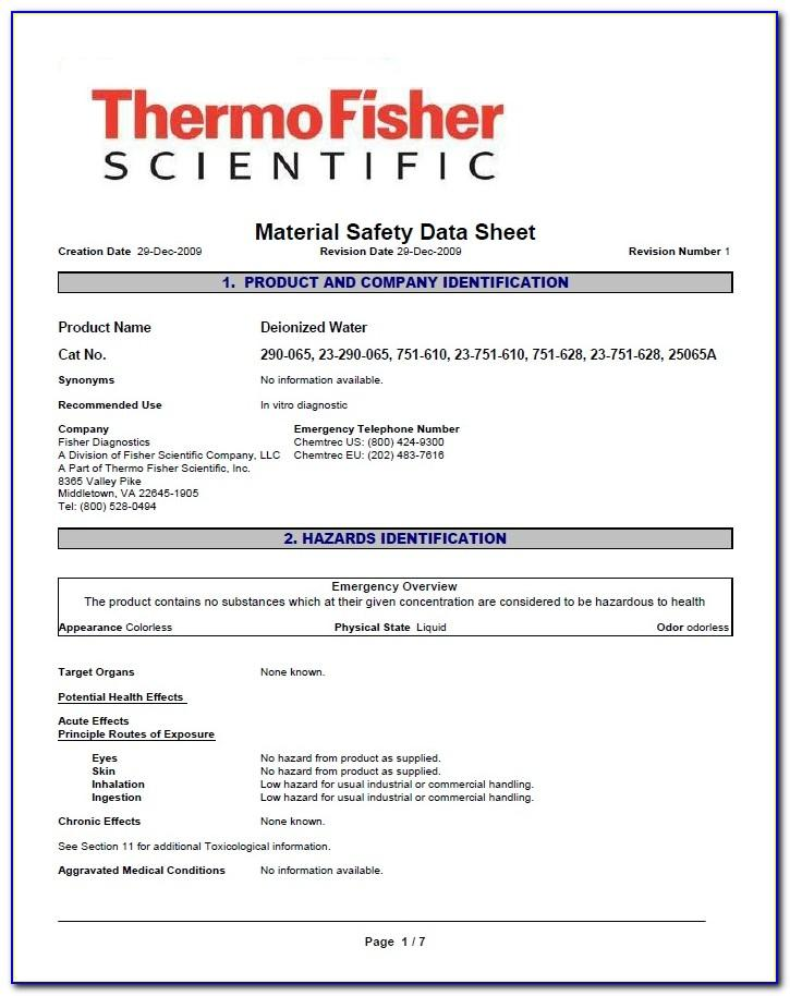 Material Safety Data Sheet (msds) Format