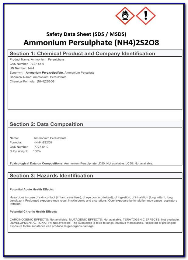 Material Safety Data Sheet Template Free