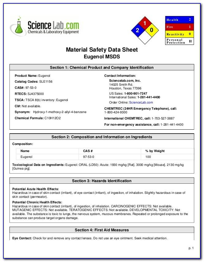 Material Safety Data Sheet Template South Africa