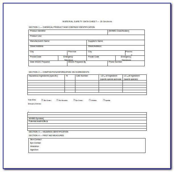 Material Safety Data Sheet Template Uk