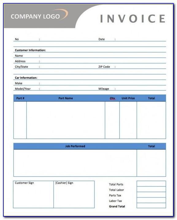 Mechanic Invoice Template Pdf