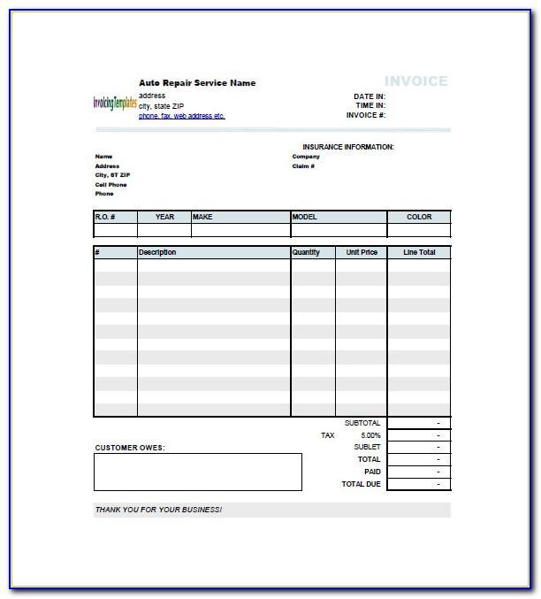 Mechanic Invoice Template Uk