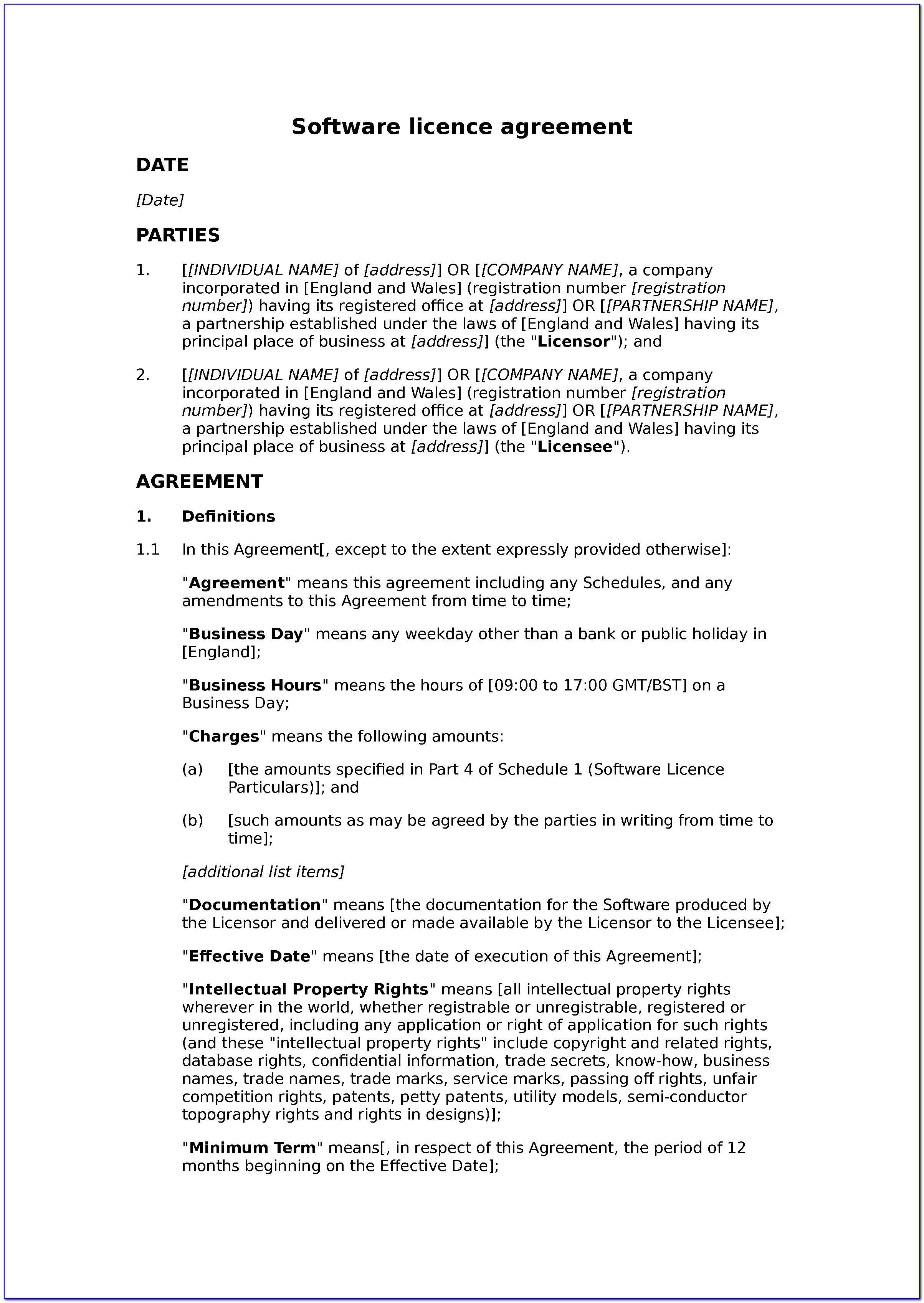 Music Licensing Agreement Template Free