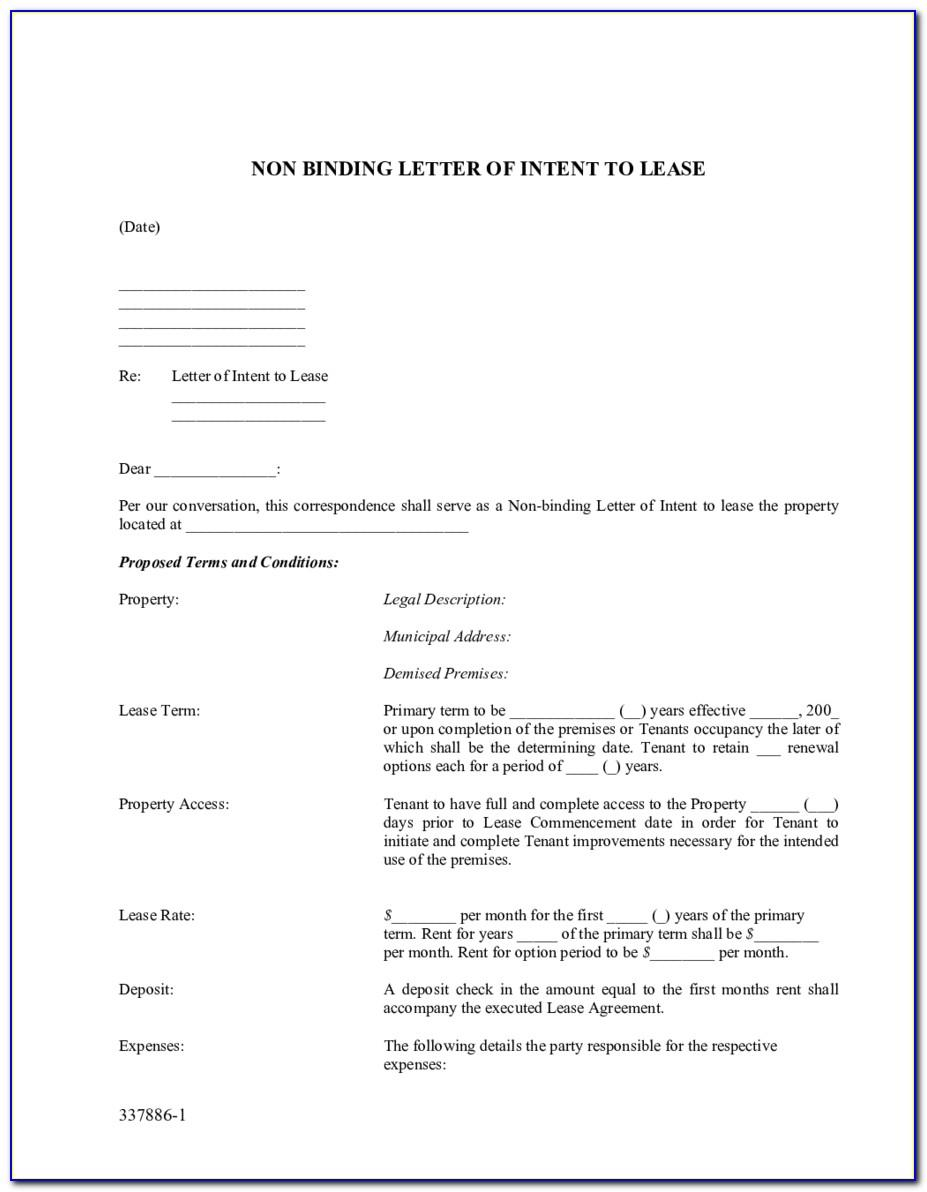 Non Binding Letter Of Intent To Lease Template