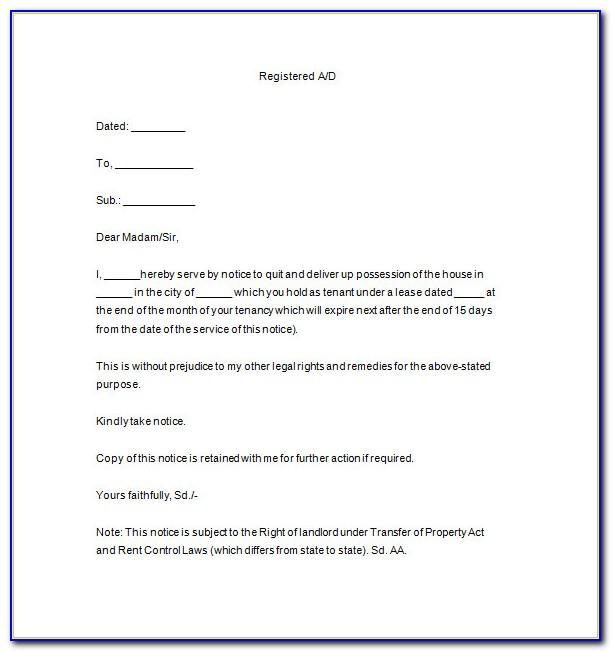 Notice Of Tenancy Termination Letter Template Uk