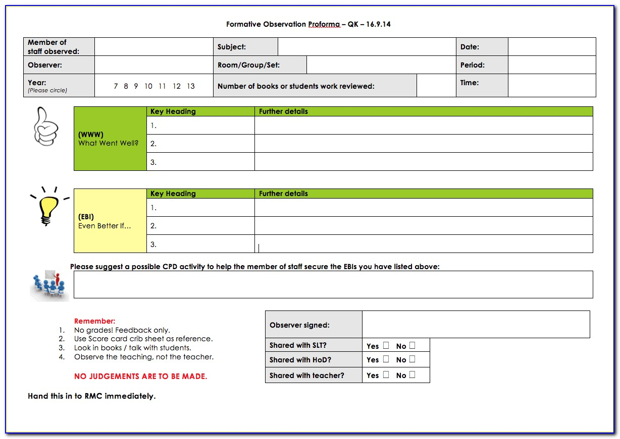 Observation Lesson Plan Format