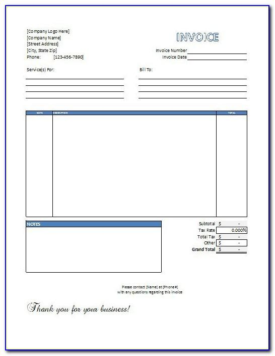 Parts And Labor Invoice Template Free